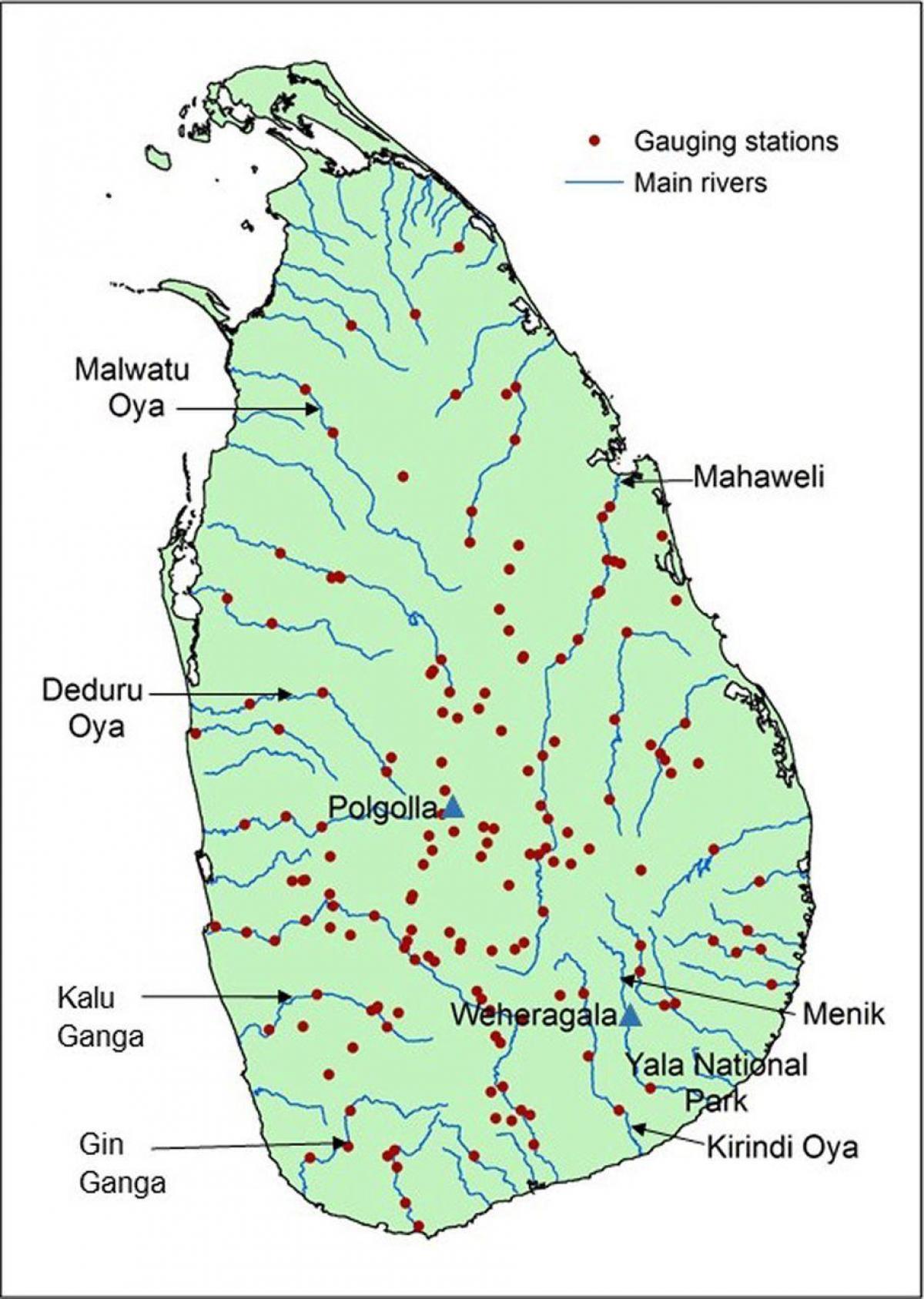 Mahaweli river map Sri Lanka - Karte der mahaweli river map ...